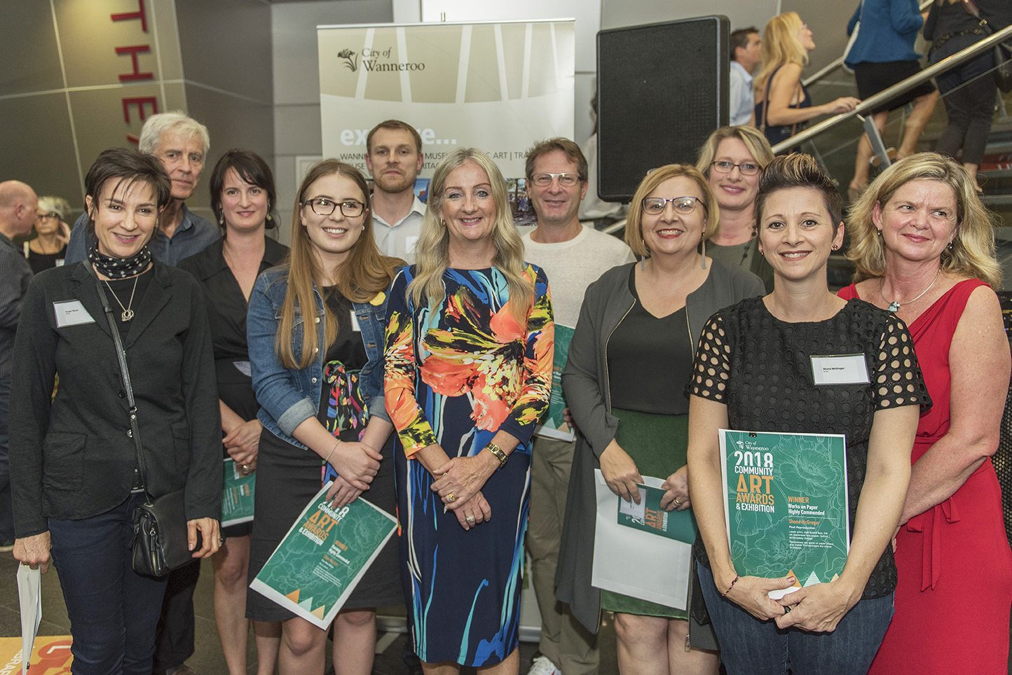 An image of City of Wanneroo Mayor Tracey Roberts pictured with the winners from the 2018 Community Art Awards and Exhibition at last year's event.