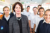 Carol Strauss with Ashdale Secondary College students