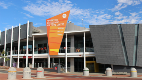 An exterior shot of the Wanneroo Library and Cultural Centre.