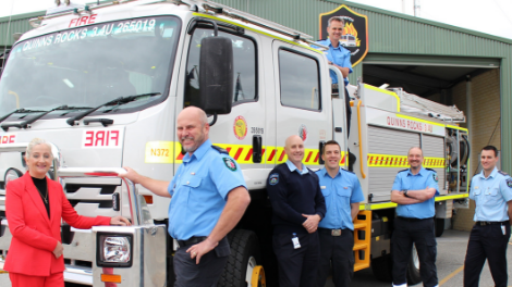 Mayor Roberts pictured with members of the Quinns Rocks Bush Fire Brigade.