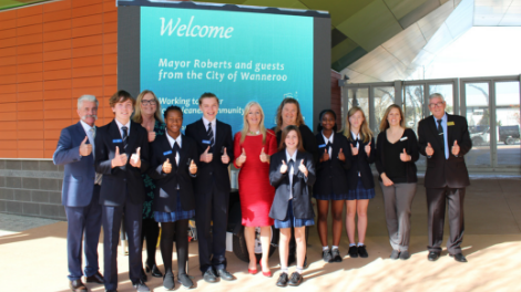 Mayor Tracey Roberts and Councillors Lewis Flood, Natalie Sangalli and Linda Aitken with staff and students from Butler College.