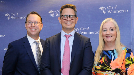 WA Treasurer Ben Wyatt MLA (centre) with City of Wanneroo Chief Executive Officer Daniel Simms and Mayor Tracey Roberts.