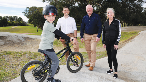City of Wanneroo Crs Domenic Zappa and Brett Treby with Mayor Tracey Roberts and Landsdale Primary student Bryson Litchfield at Warradale Park.