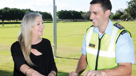 Mayor Tracey Roberts and Ranger Jared Conti at Kingsway Regional Sporting Complex.