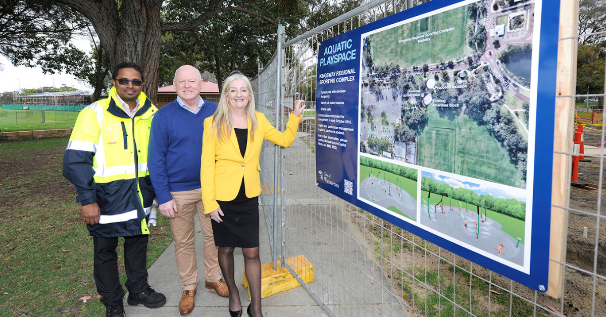 Mayor Tracey Roberts visits the construction site of the aquatic play space at Kingsway Regional Sporting Complex, with Project Manager Rizwan Check and South Ward councillor Brett Treby.