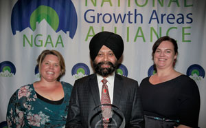 City of Wanneroo Director Assets Harminder Singh (centre) with Astrolabe Group Director Belinda Campbell Comninos (left) and NGAA Executive Officer Bronwen Clark.
