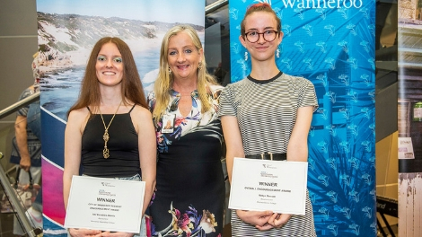 A picture of City of Wanneroo Mayor Tracey Roberts with Northern Perspectives 2019 award winners Abi Venables-Morris (Wanneroo Secondary College) and Robyn Bennett (Mindarie Senior College) at the opening night of the exhibition.