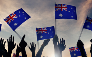 Australian flag being waved