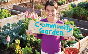 Girl in community garden
