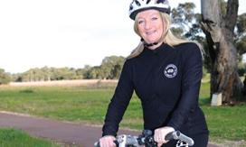 Mayor Tracey Roberts cycling