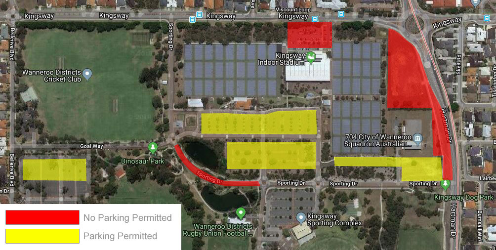 Map of parking for netball at Kingsway.