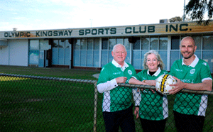 Mayor Tracey Roberts with Cr Brett Treby (L) and Olympic Kingsway Club President Steven Nelkovski.