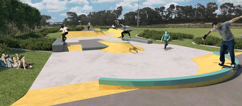A concept drawing of the Splendid Park skate park.