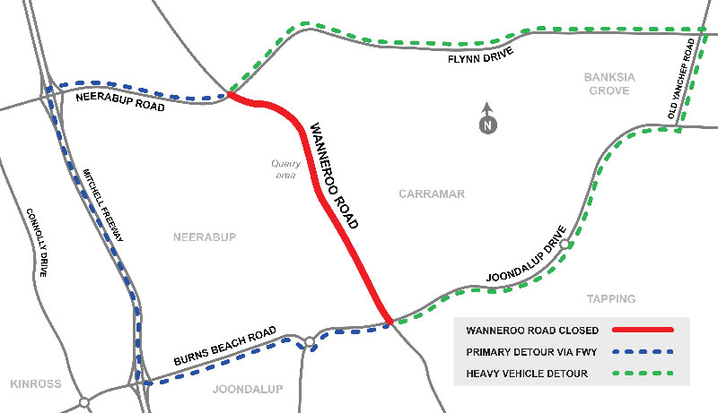 Wanneroo  Road Closure Flynn Drive map