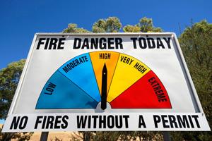 Bushfire warning sign