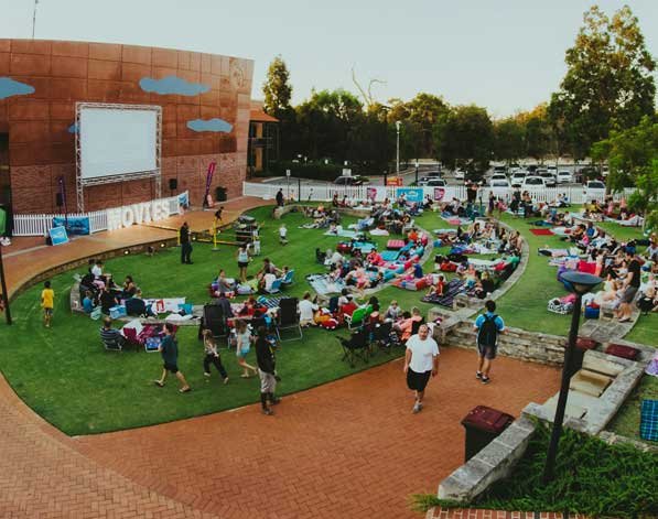 Crowd watching outdoor movies