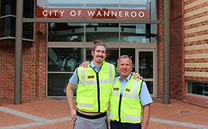 Perth Wildcats Vice Captain Greg Hire with City of Wanneroo Ranger Mark White