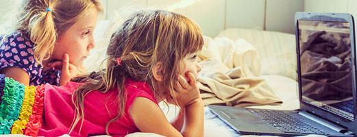 Children watching screen