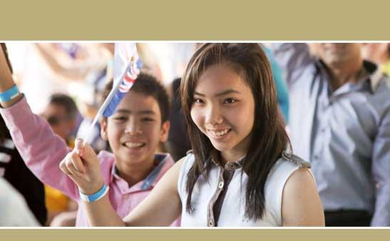 Girl waving Australia flag