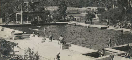 Black and white photo of Yanchep swimming pool