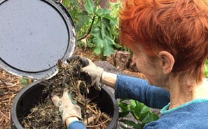 A lady composting