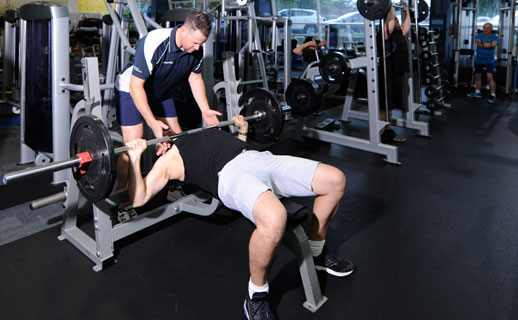 Person exercising in gym