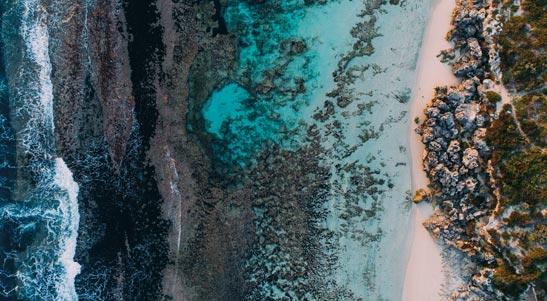 Aerial footage of coastline