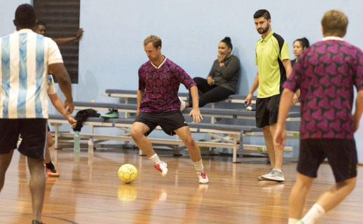 Playing soccer at Kingsway Indoor Stadium