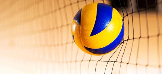 Volleyball hitting a net