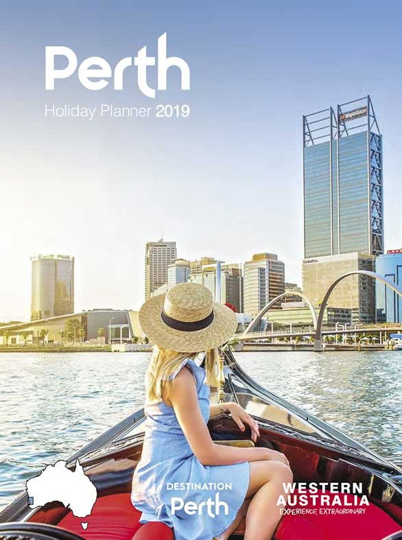 Woman on boat in front of Perth city