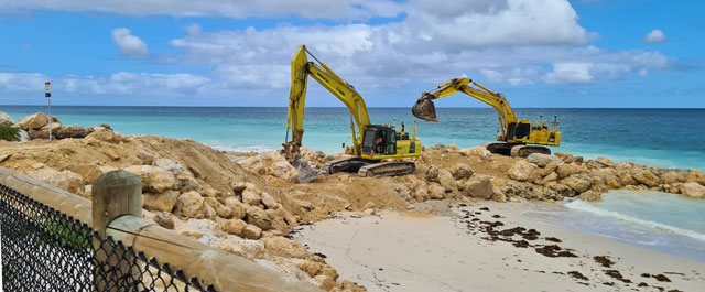 Excavators on beach