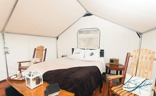Inside of a glamping tent