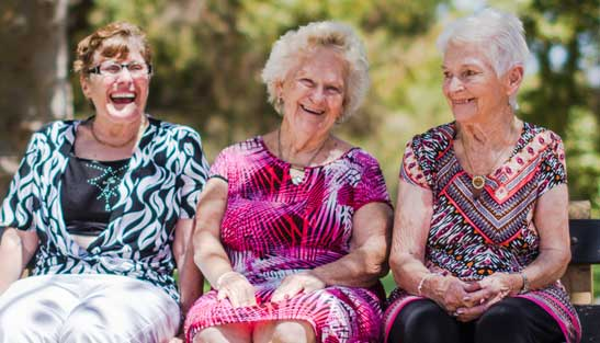 Three senior ladies talking