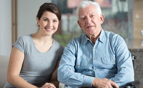 Senior with carer