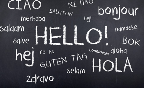 Various languages on a chalkboard