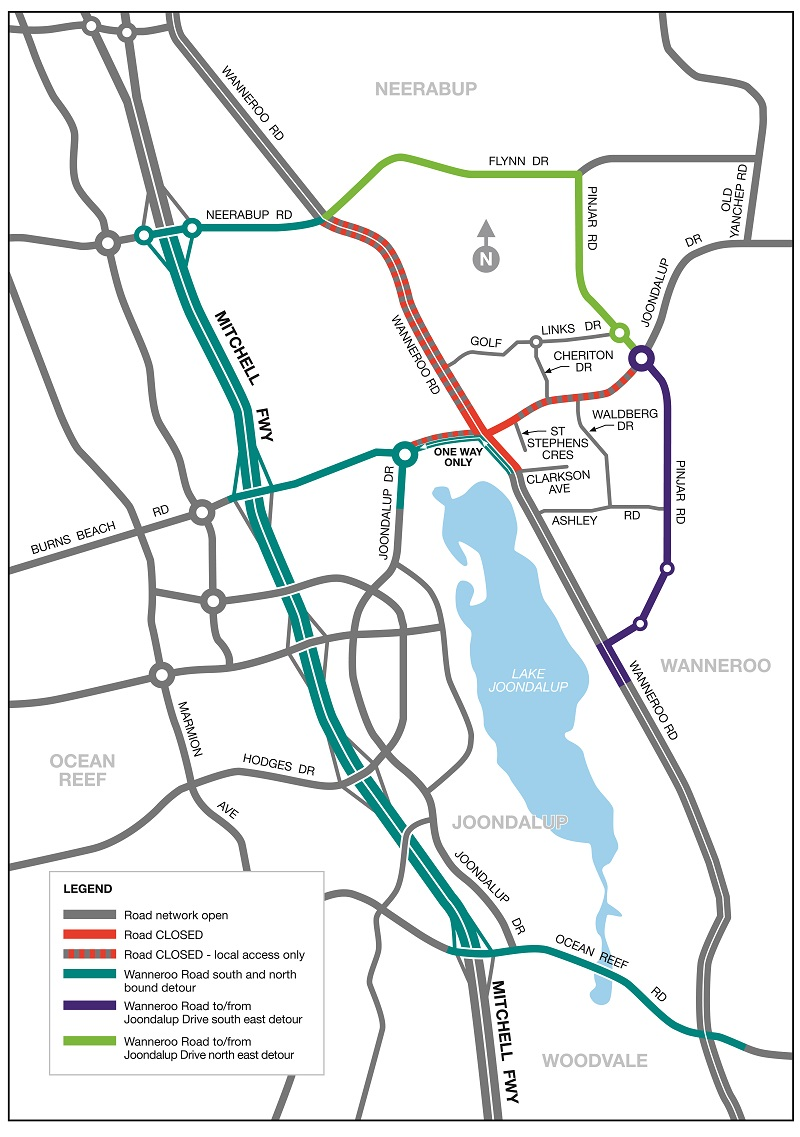 Map of Wanneroo Road and Joondalup Drive intersection closure.