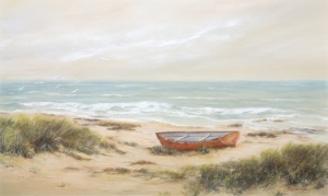 Boat on Beach, Rita Peters. Acquired 1950, Pastel